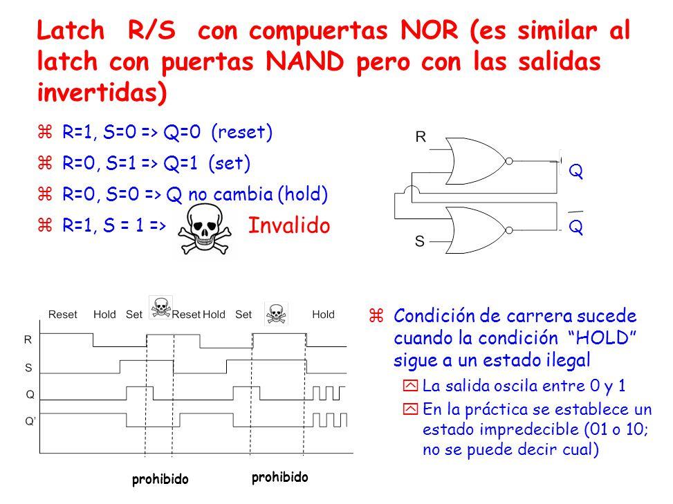 Latch R/S con compuertas NOR (es similar al latch con puertas NAND pero con las salidas invertidas)