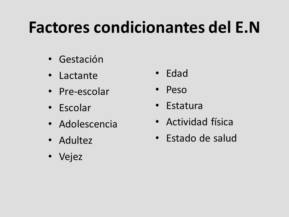 Factores condicionantes del E.N