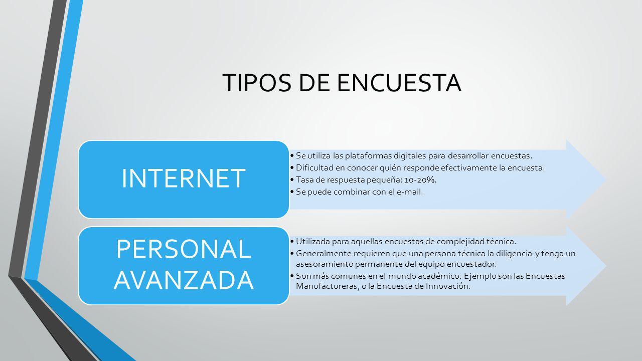 INTERNET PERSONAL AVANZADA TIPOS DE ENCUESTA