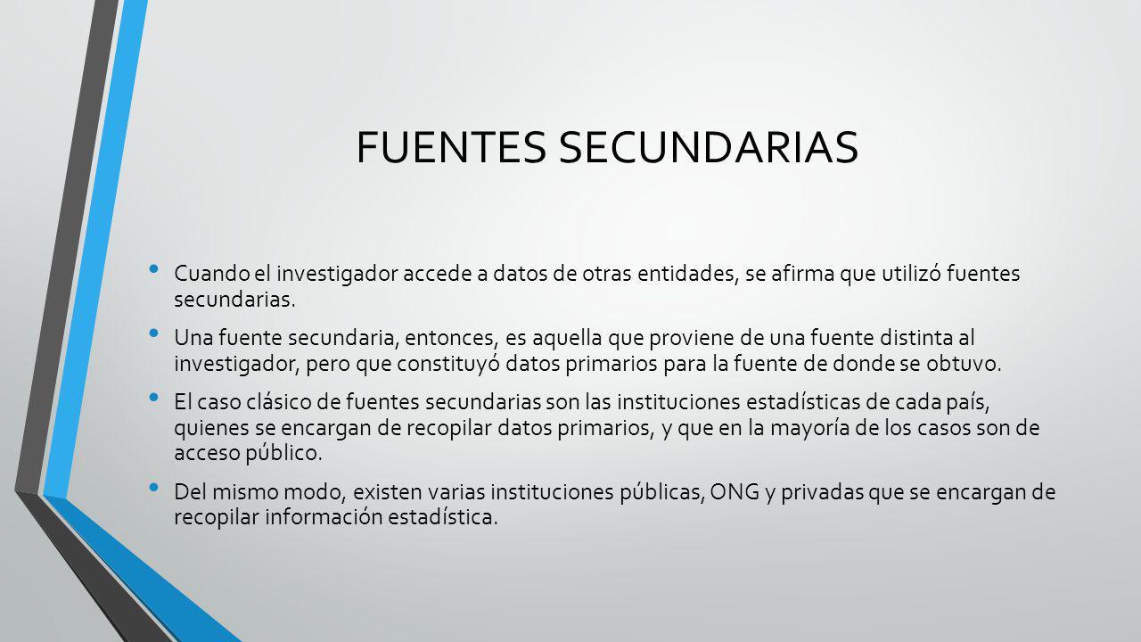 FUENTES SECUNDARIAS Cuando el investigador accede a datos de otras entidades, se afirma que utilizó fuentes secundarias.