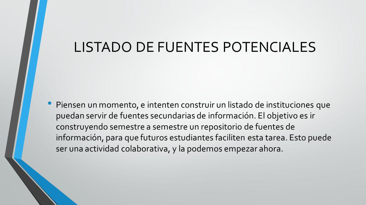 LISTADO DE FUENTES POTENCIALES
