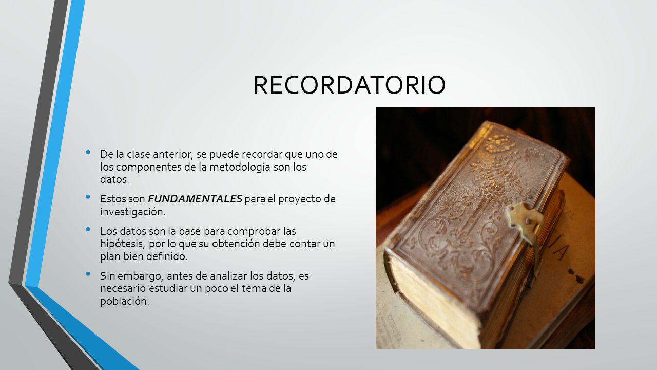 RECORDATORIO De la clase anterior, se puede recordar que uno de los componentes de la metodología son los datos.