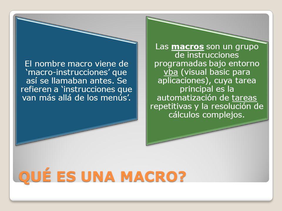 El nombre macro viene de 'macro-instrucciones' que así se llamaban antes. Se refieren a 'instrucciones que van más allá de los menús'.