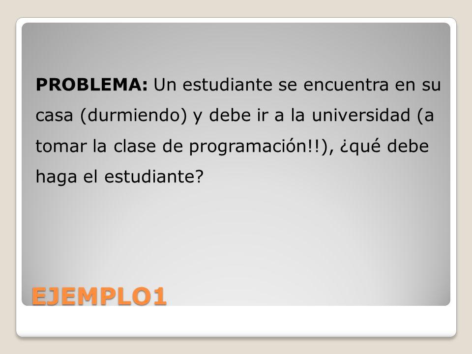 PROBLEMA: Un estudiante se encuentra en su casa (durmiendo) y debe ir a la universidad (a tomar la clase de programación!!), ¿qué debe haga el estudiante