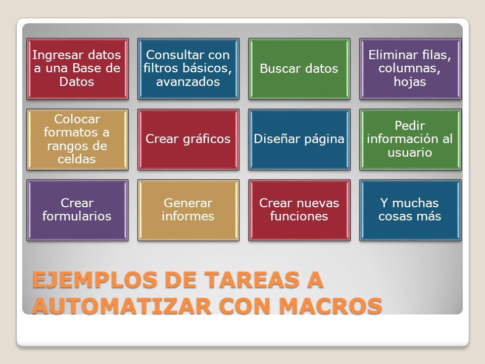 EJEMPLOS DE TAREAS A AUTOMATIZAR CON MACROS
