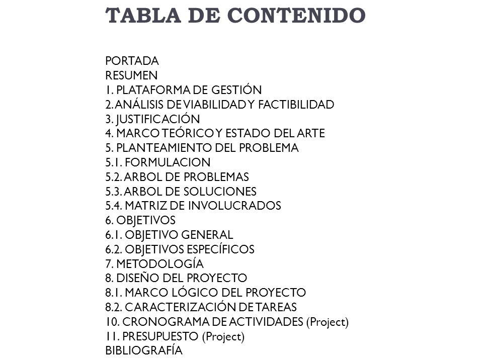 TABLA DE CONTENIDO PORTADA RESUMEN 1. PLATAFORMA DE GESTIÓN