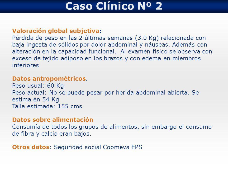 Caso Clínico Nº 2 Valoración global subjetiva: