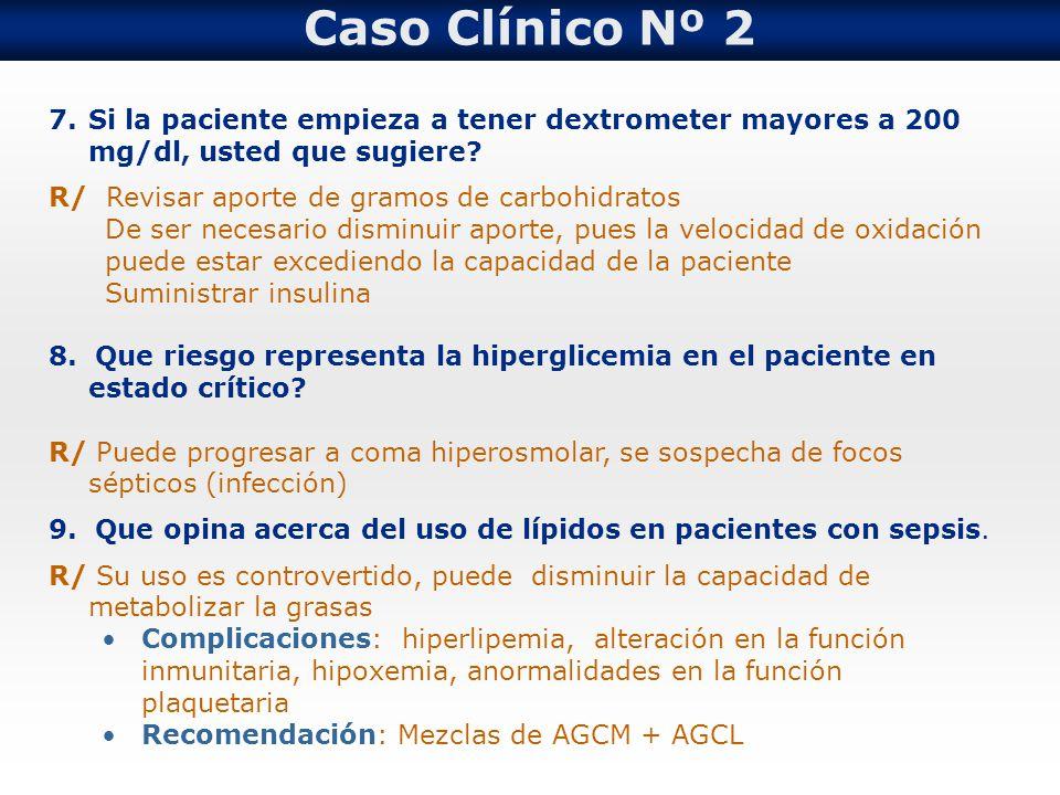 Caso Clínico Nº 2 Si la paciente empieza a tener dextrometer mayores a 200 mg/dl, usted que sugiere