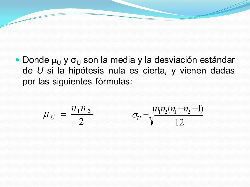 Donde U y σU son la media y la desviación estándar de U si la hipótesis nula es cierta, y vienen dadas por las siguientes fórmulas: