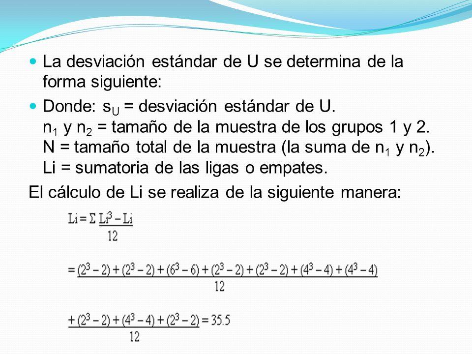 La desviación estándar de U se determina de la forma siguiente:
