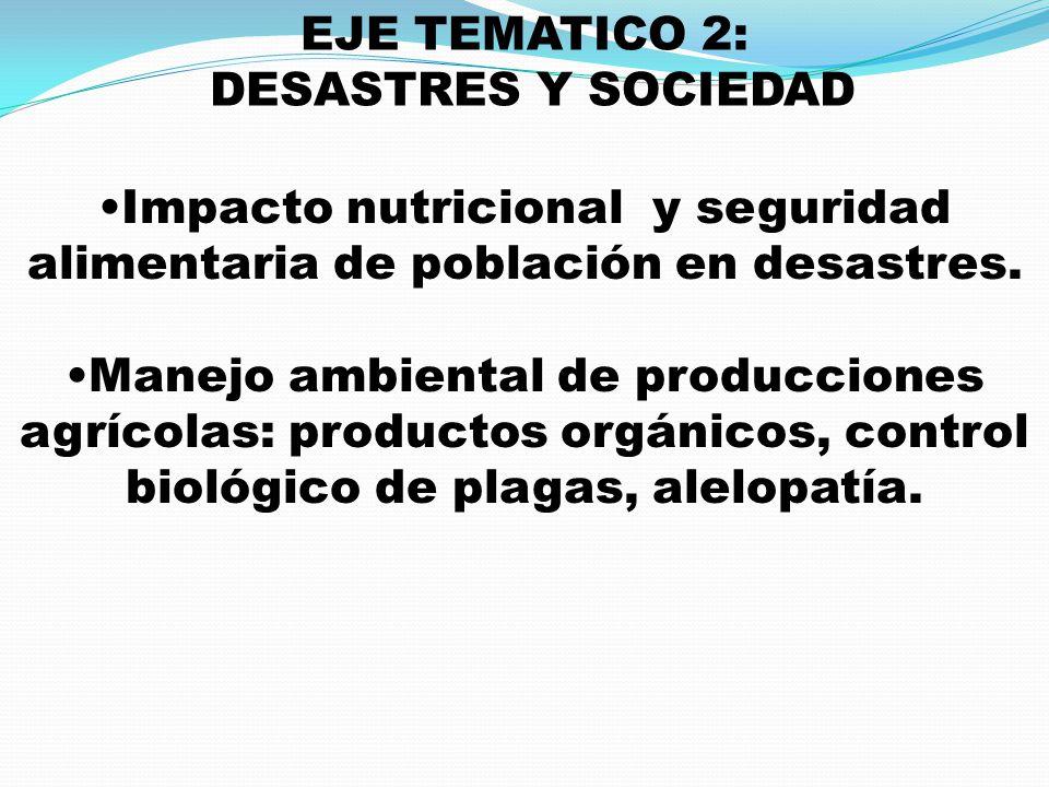 Impacto nutricional y seguridad alimentaria de población en desastres.