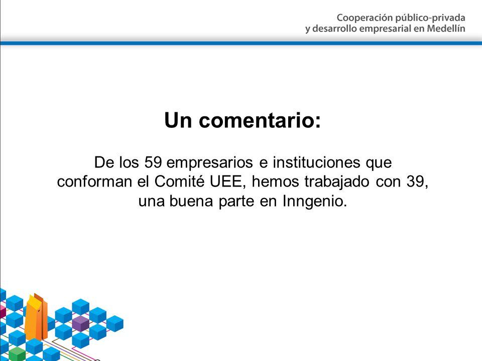 Un comentario: De los 59 empresarios e instituciones que conforman el Comité UEE, hemos trabajado con 39, una buena parte en Inngenio.