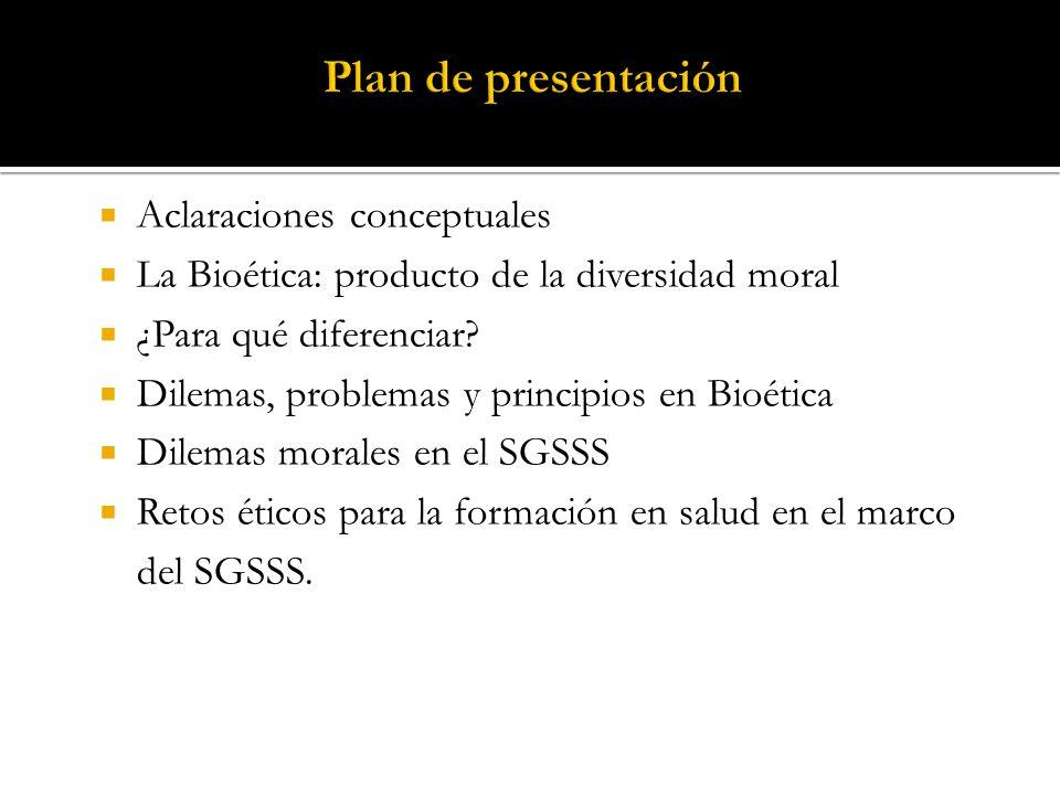 Plan de presentación Aclaraciones conceptuales