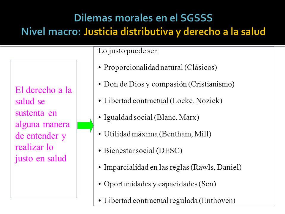 Dilemas morales en el SGSSS Nivel macro: Justicia distributiva y derecho a la salud