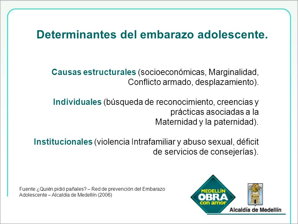 Determinantes del embarazo adolescente.