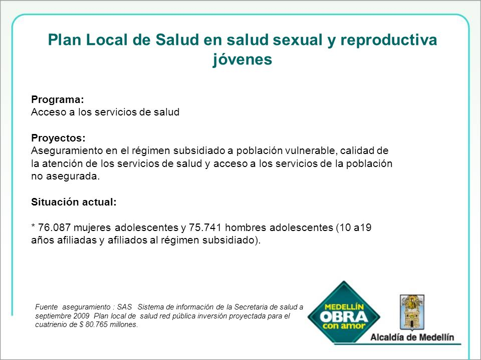 Plan Local de Salud en salud sexual y reproductiva jóvenes