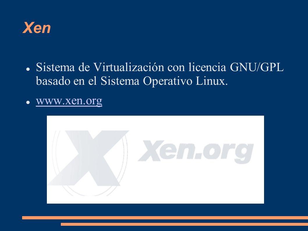 XenSistema de Virtualización con licencia GNU/GPL basado en el Sistema Operativo Linux.