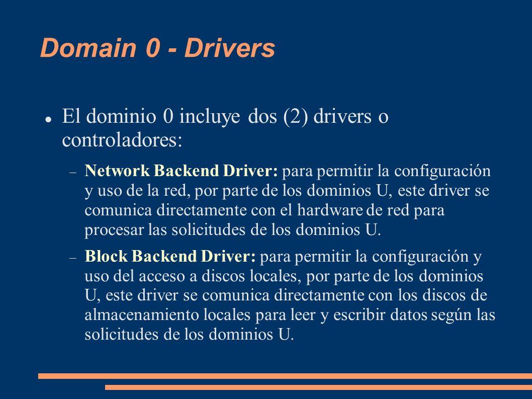 Domain 0 - Drivers El dominio 0 incluye dos (2) drivers o controladores: