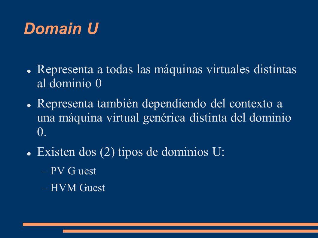 Domain U Representa a todas las máquinas virtuales distintas al dominio 0.