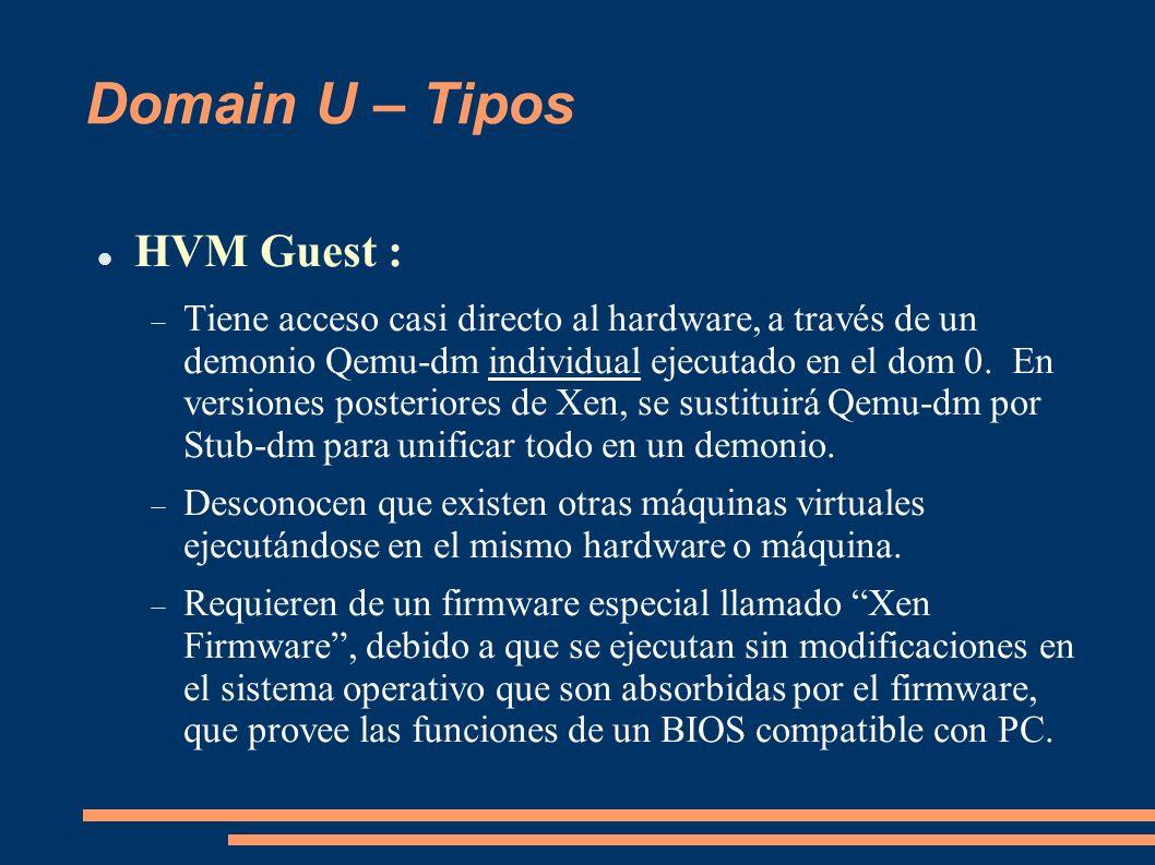 Domain U – Tipos HVM Guest :