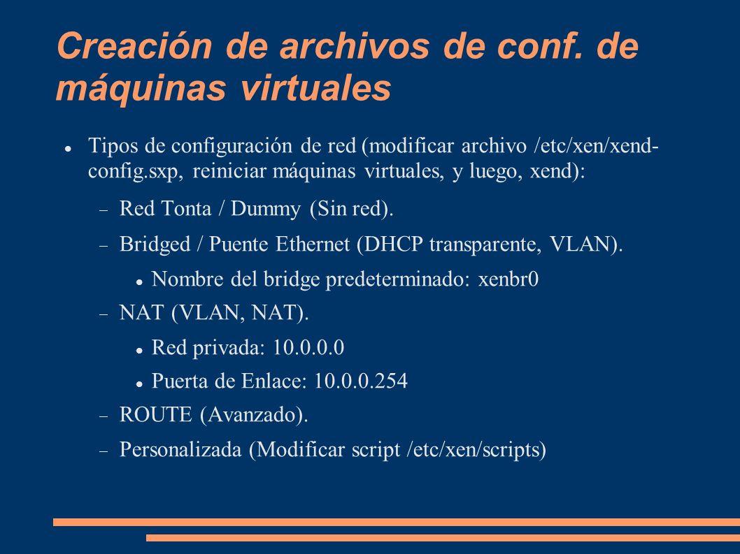 Creación de archivos de conf. de máquinas virtuales