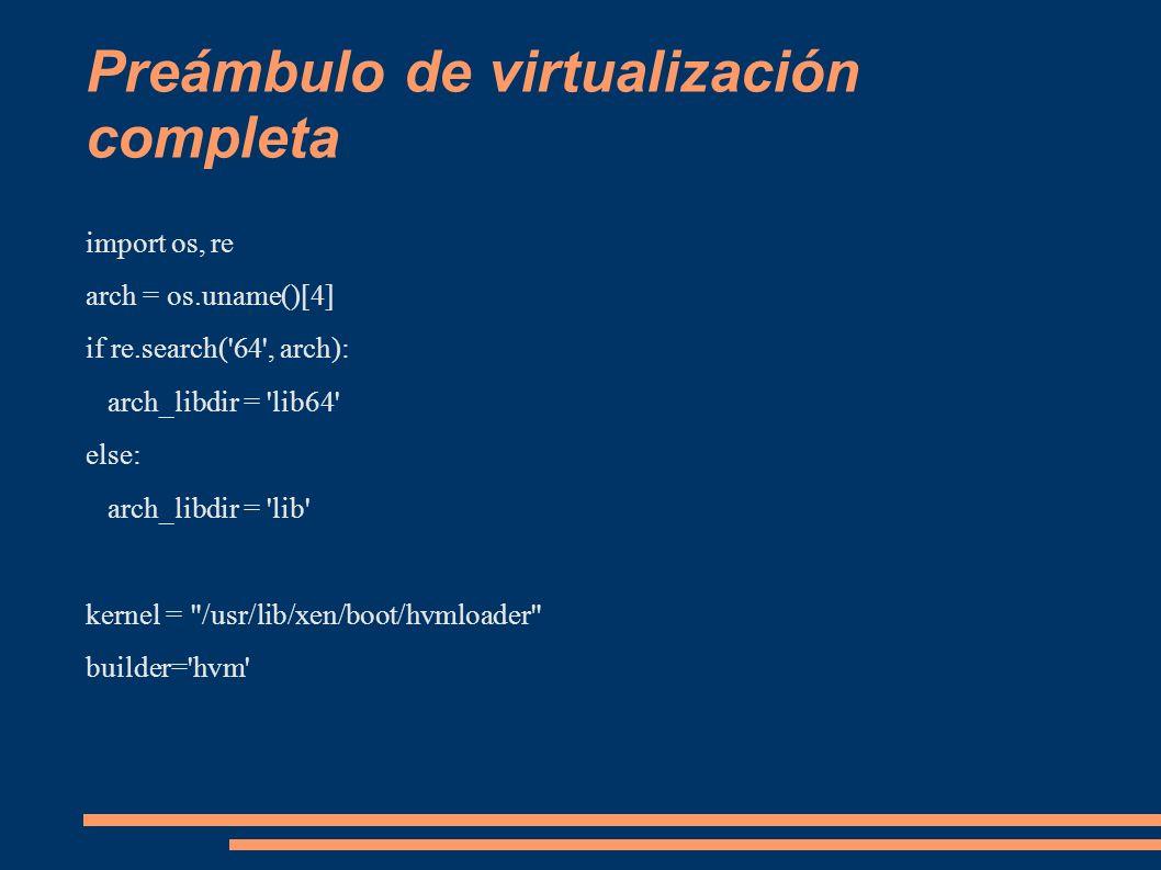 Preámbulo de virtualización completa