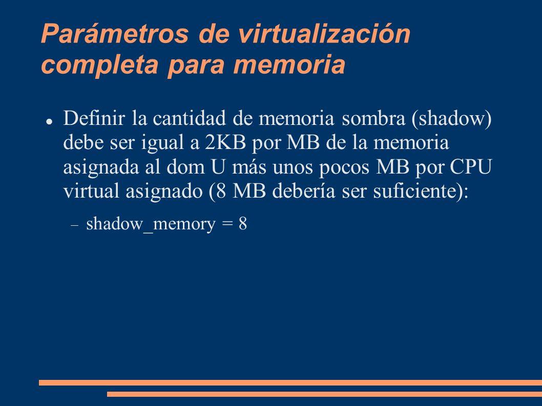Parámetros de virtualización completa para memoria