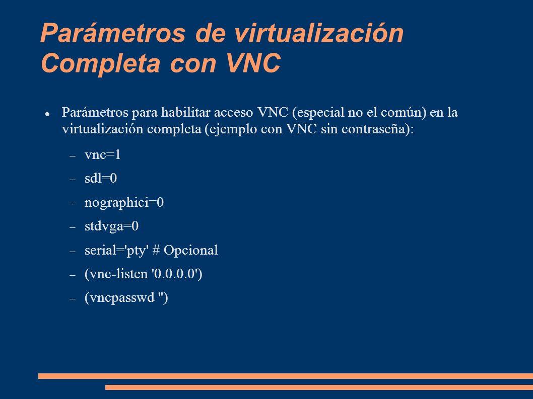 Parámetros de virtualización Completa con VNC