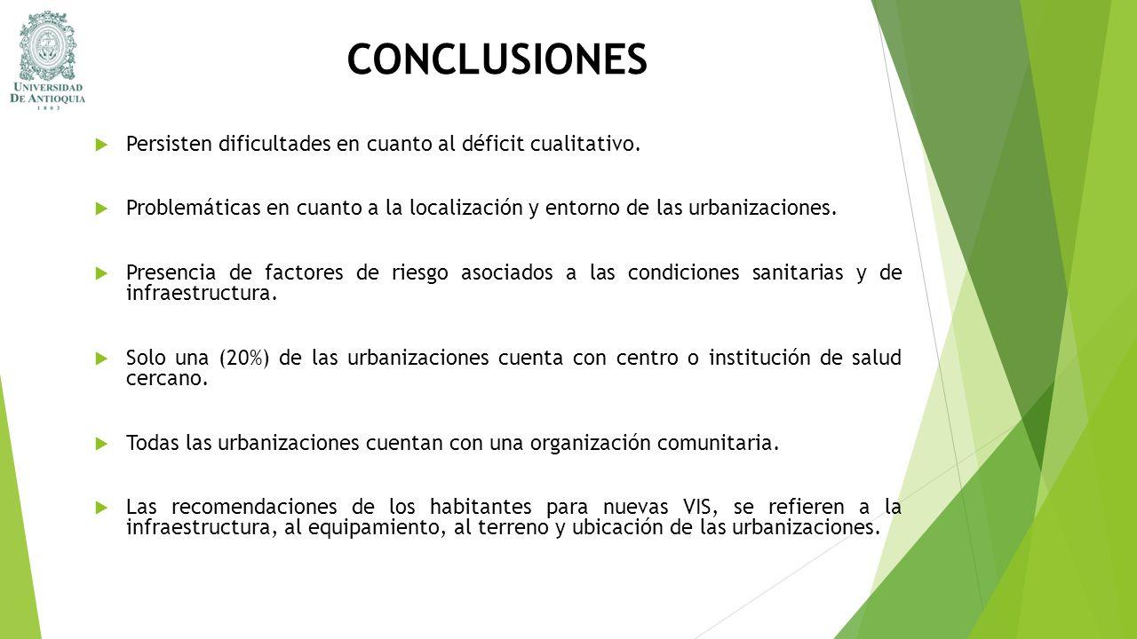 CONCLUSIONES Persisten dificultades en cuanto al déficit cualitativo.