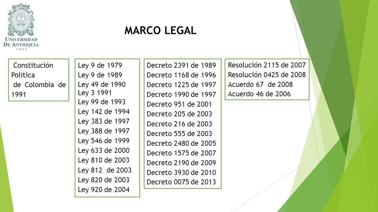 MARCO LEGAL Constitución Política de Colombia de 1991 Ley 9 de 1979