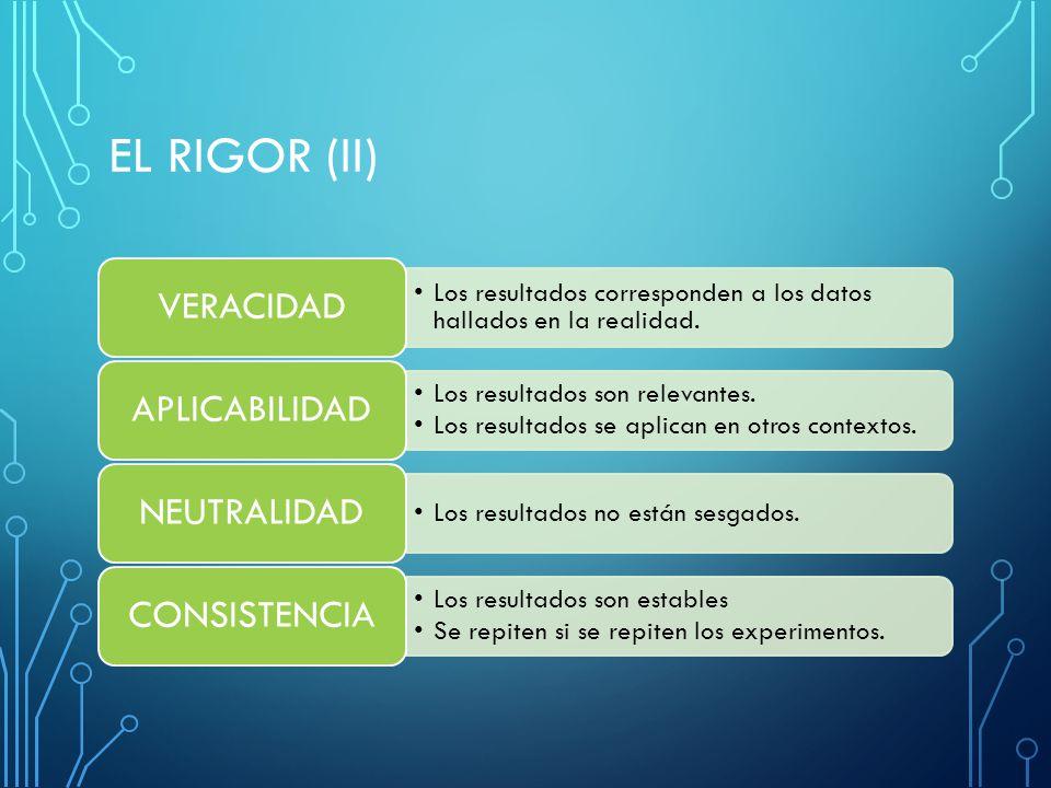 El RIGOR (ii) VERACIDAD APLICABILIDAD NEUTRALIDAD CONSISTENCIA