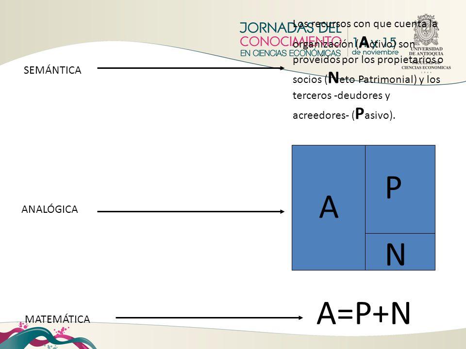 Los recursos con que cuenta la organización (Activo) son proveídos por los propietarios o socios (Neto Patrimonial) y los terceros -deudores y acreedores- (Pasivo).