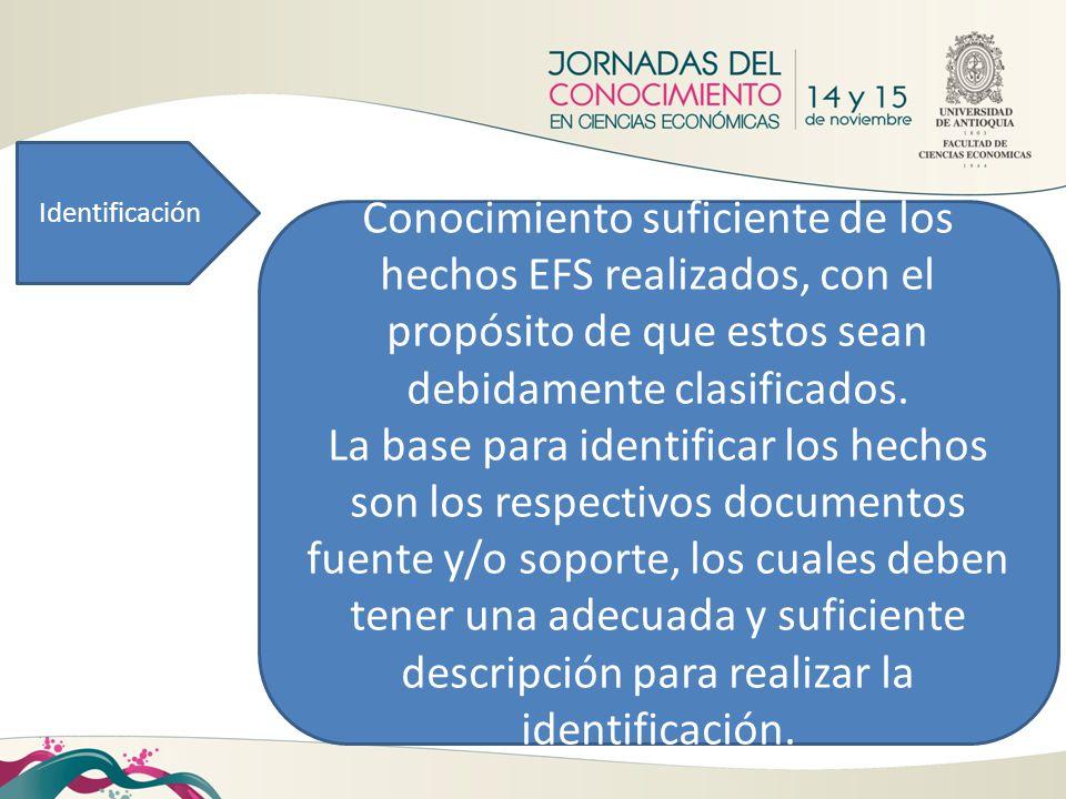 Identificación Conocimiento suficiente de los hechos EFS realizados, con el propósito de que estos sean debidamente clasificados.