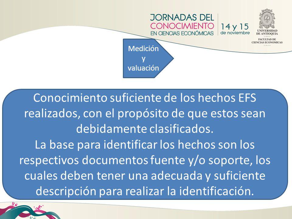 Medición y valuación Conocimiento suficiente de los hechos EFS realizados, con el propósito de que estos sean debidamente clasificados.