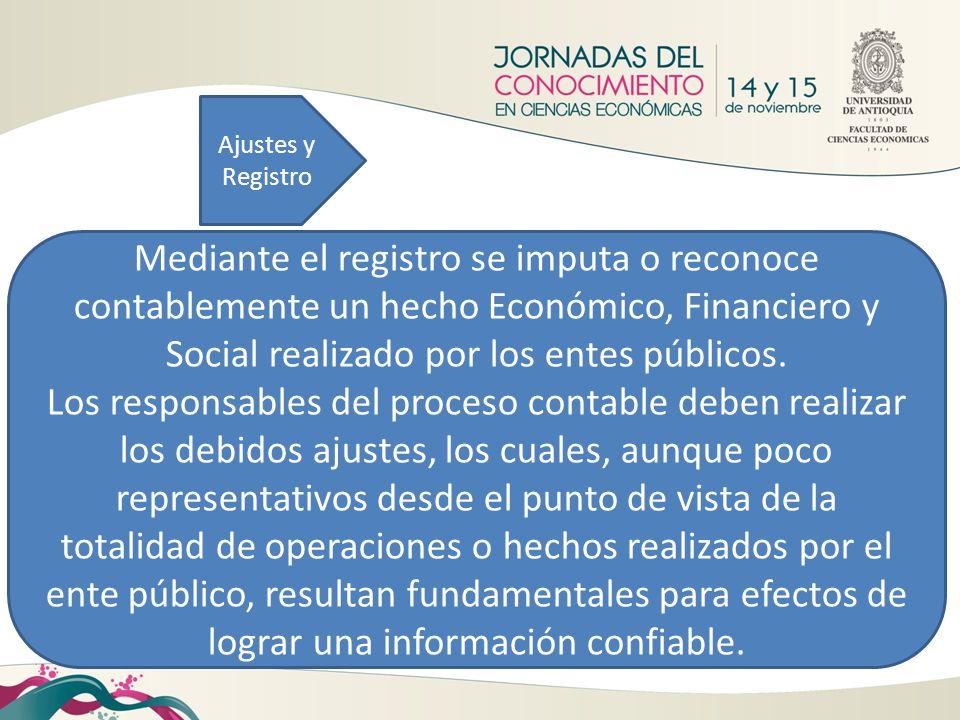 Ajustes y Registro Mediante el registro se imputa o reconoce contablemente un hecho Económico, Financiero y Social realizado por los entes públicos.