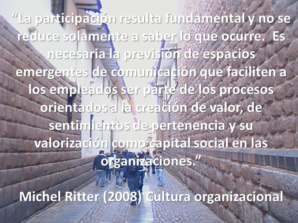 Michel Ritter (2008) Cultura organizacional