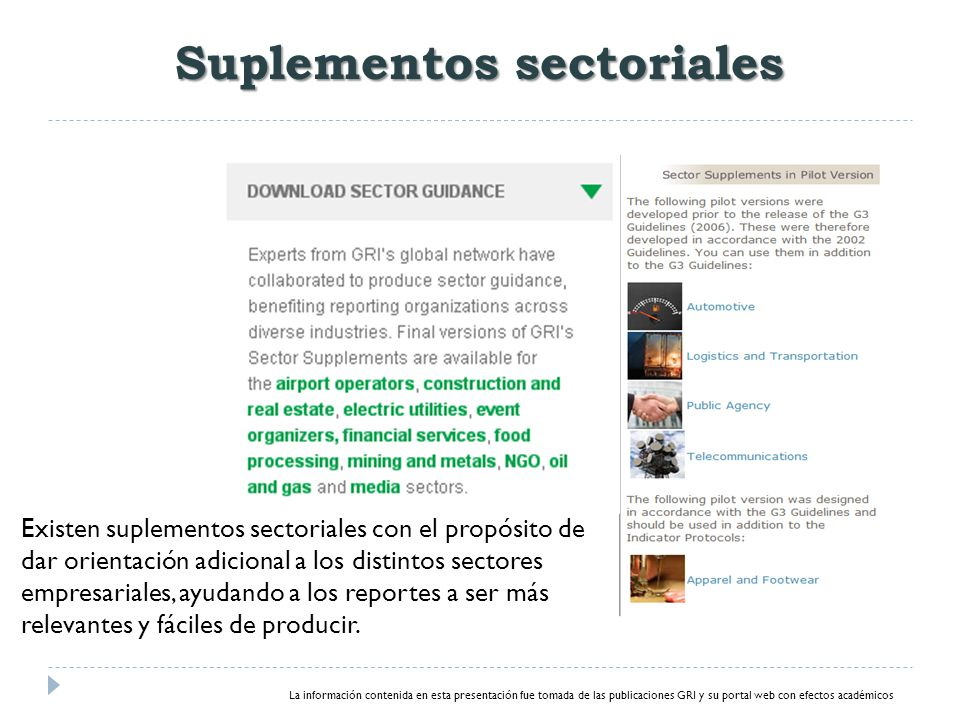 Suplementos sectoriales