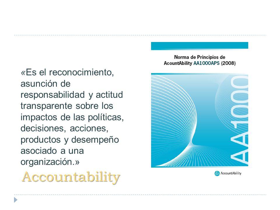 «Es el reconocimiento, asunción de responsabilidad y actitud transparente sobre los impactos de las políticas, decisiones, acciones, productos y desempeño asociado a una organización.»