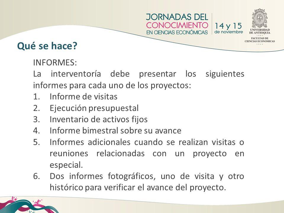 Qué se hace INFORMES: La interventoría debe presentar los siguientes informes para cada uno de los proyectos: