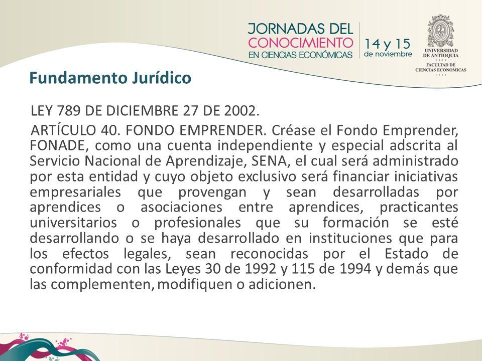Fundamento Jurídico LEY 789 DE DICIEMBRE 27 DE 2002.