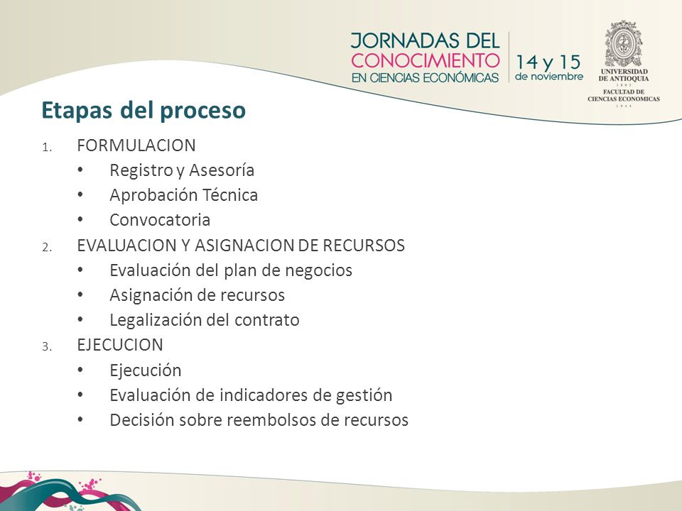 Etapas del proceso FORMULACION Registro y Asesoría Aprobación Técnica