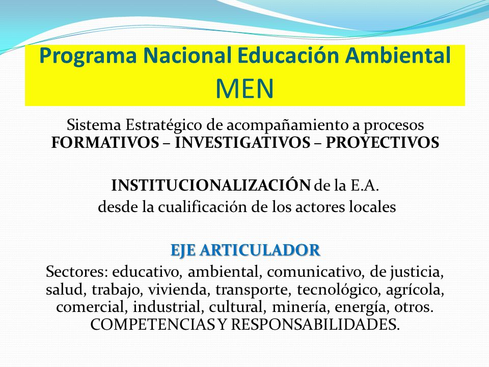 Programa Nacional Educación Ambiental MEN