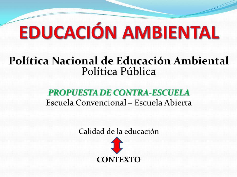 Política Nacional de Educación Ambiental PROPUESTA DE CONTRA-ESCUELA