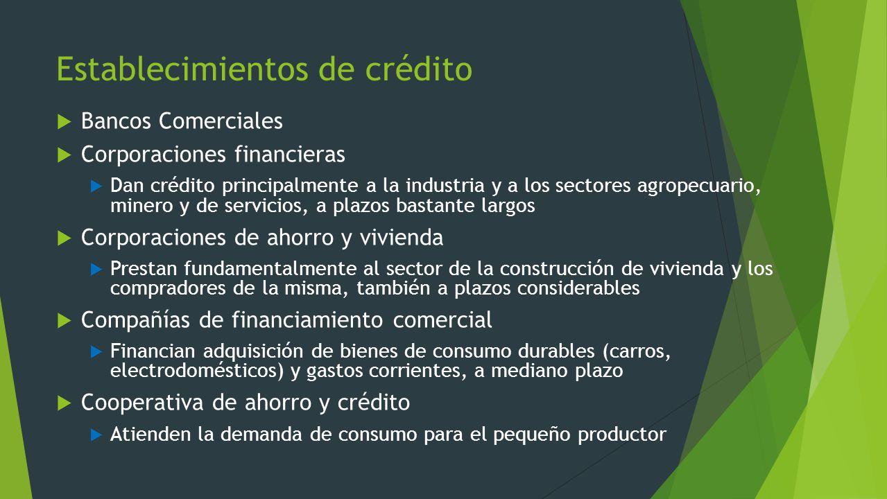 Establecimientos de crédito