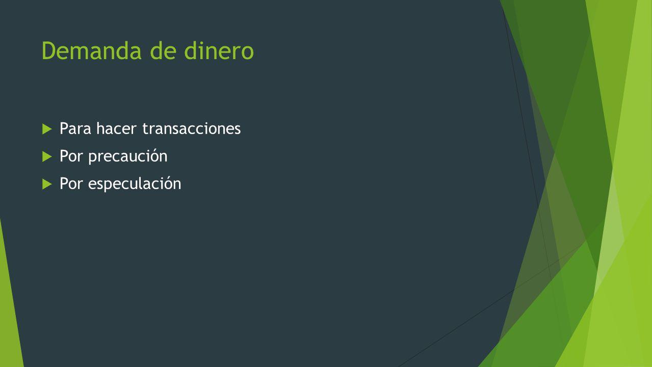 Demanda de dinero Para hacer transacciones Por precaución