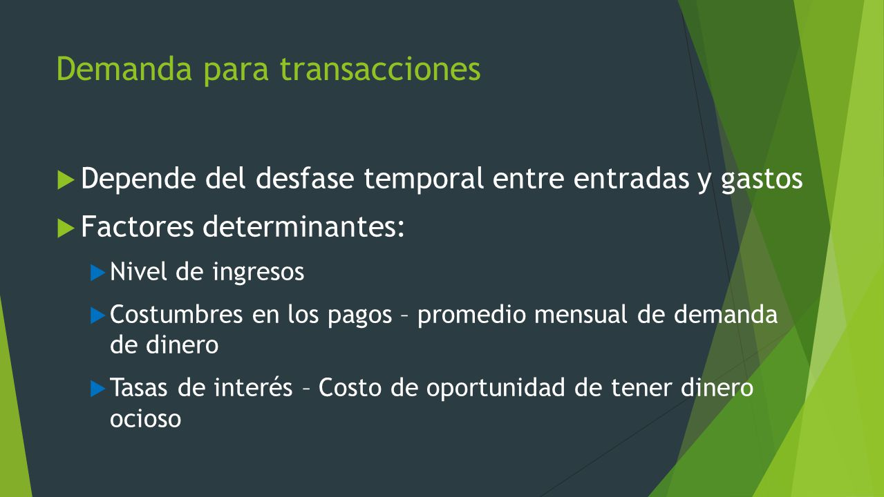 Demanda para transacciones