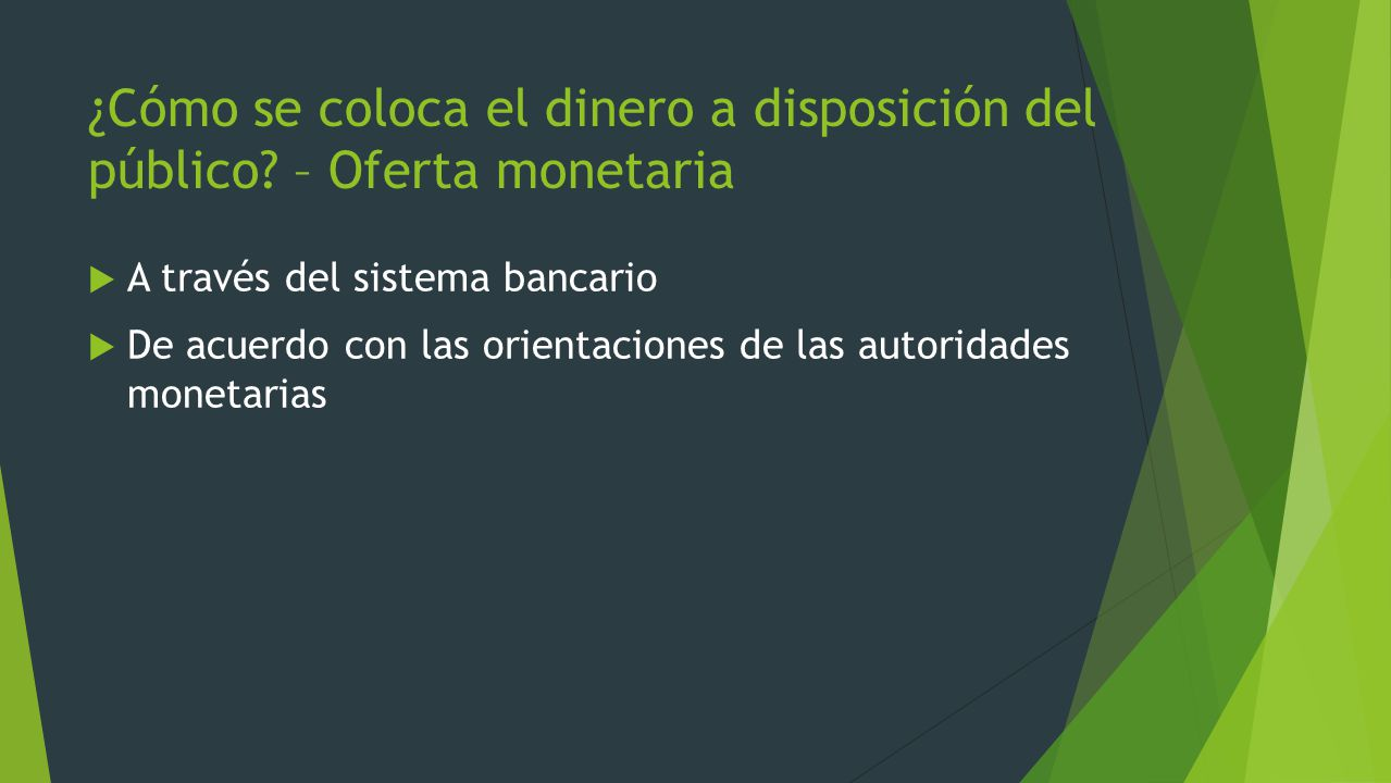 ¿Cómo se coloca el dinero a disposición del público – Oferta monetaria
