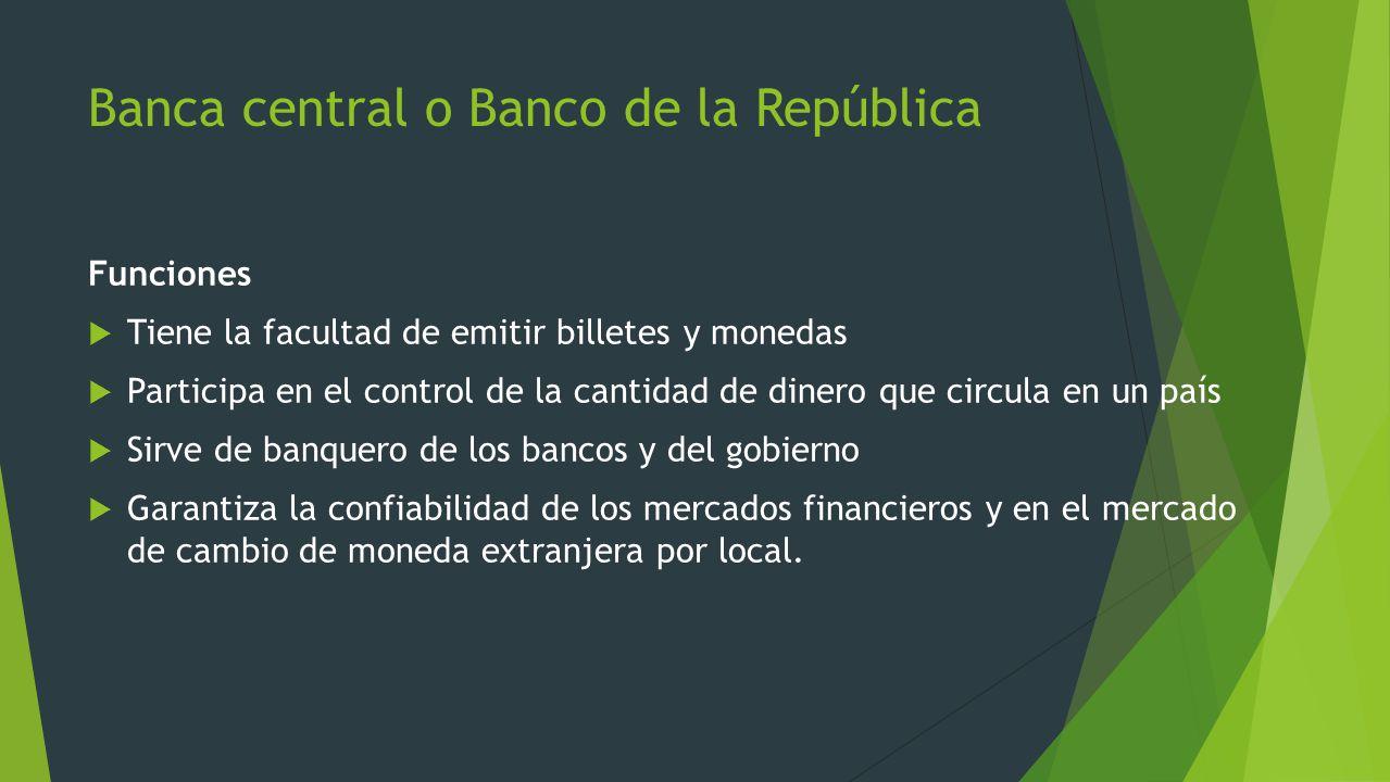Banca central o Banco de la República