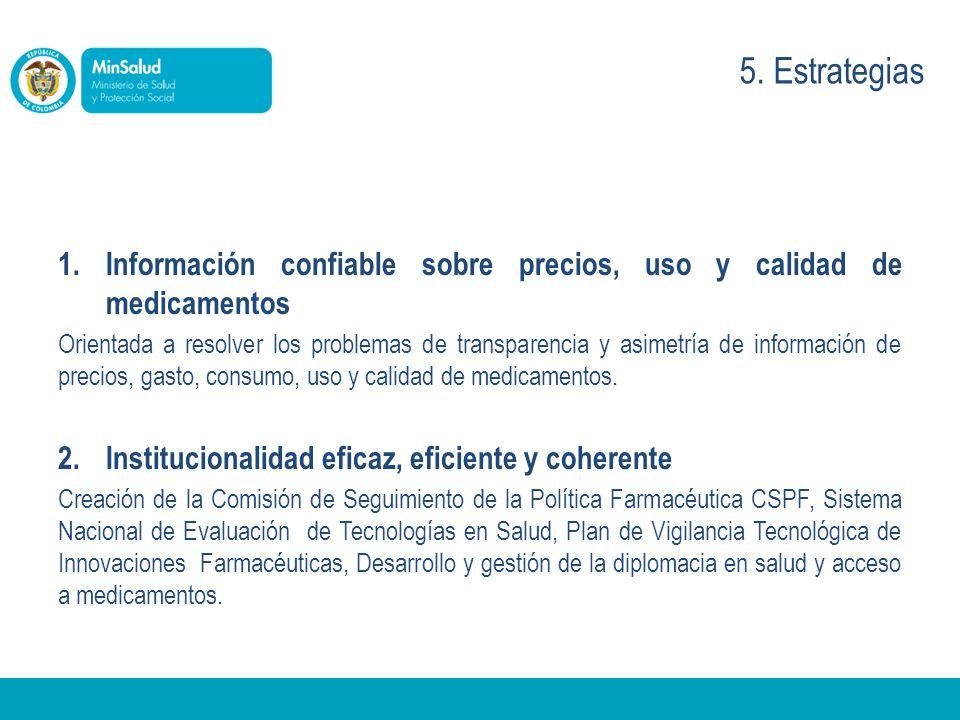 5. Estrategias Información confiable sobre precios, uso y calidad de medicamentos.