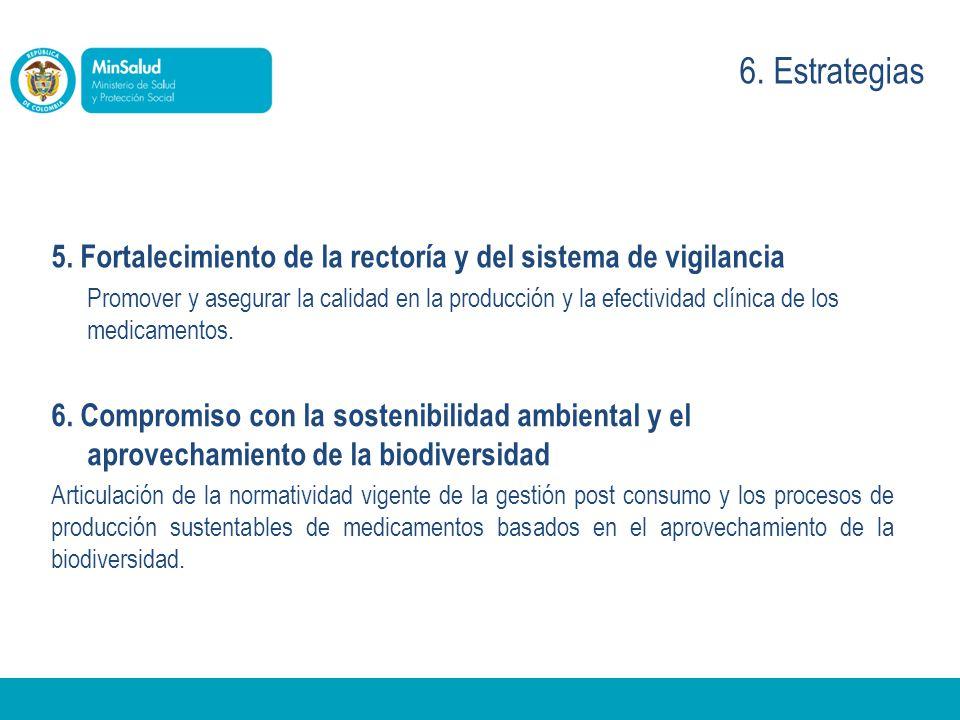 6. Estrategias 5. Fortalecimiento de la rectoría y del sistema de vigilancia.